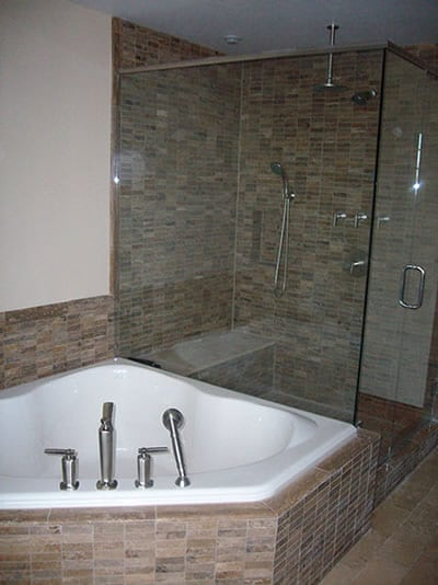 Bathroom shower and tub by Riverside Plumbing in Nashotah WI