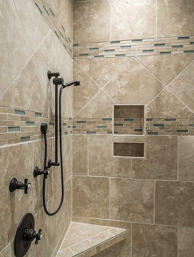 custom tile shower and oil rubbed bronze plumbing fixtures
